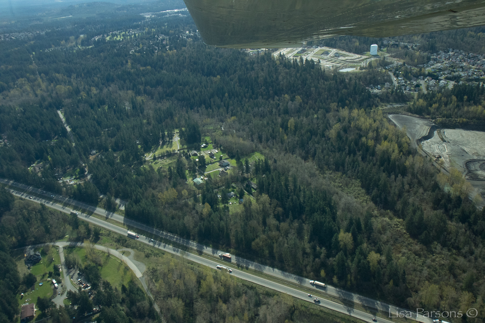 Cedar Creek Park from the Air. A forest oasis surrounded by a growing suburban landscape.