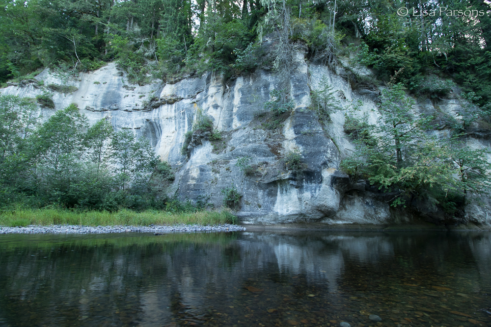 Early morning at the swimming hole beneath the towering Hanging Garden cliffs
