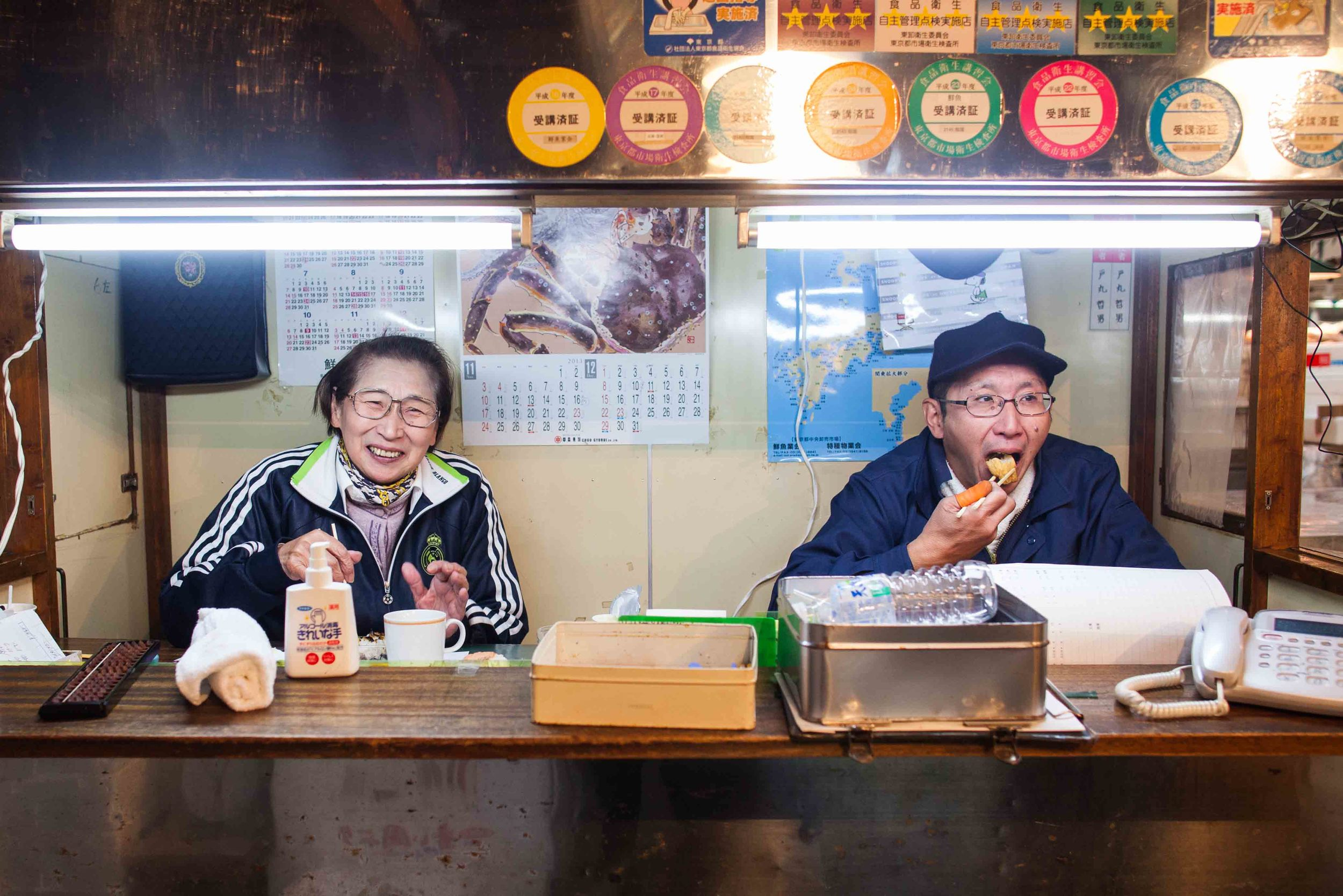 Chiyoko Tomaru enjoys a meal with a friend at the Tsukiji Fish Market.