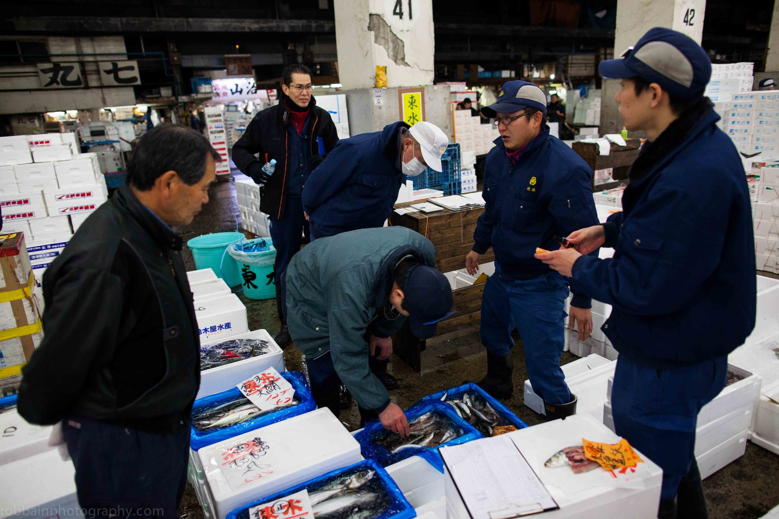 Photo 3. Workers talking next to boxes of fish.jpg