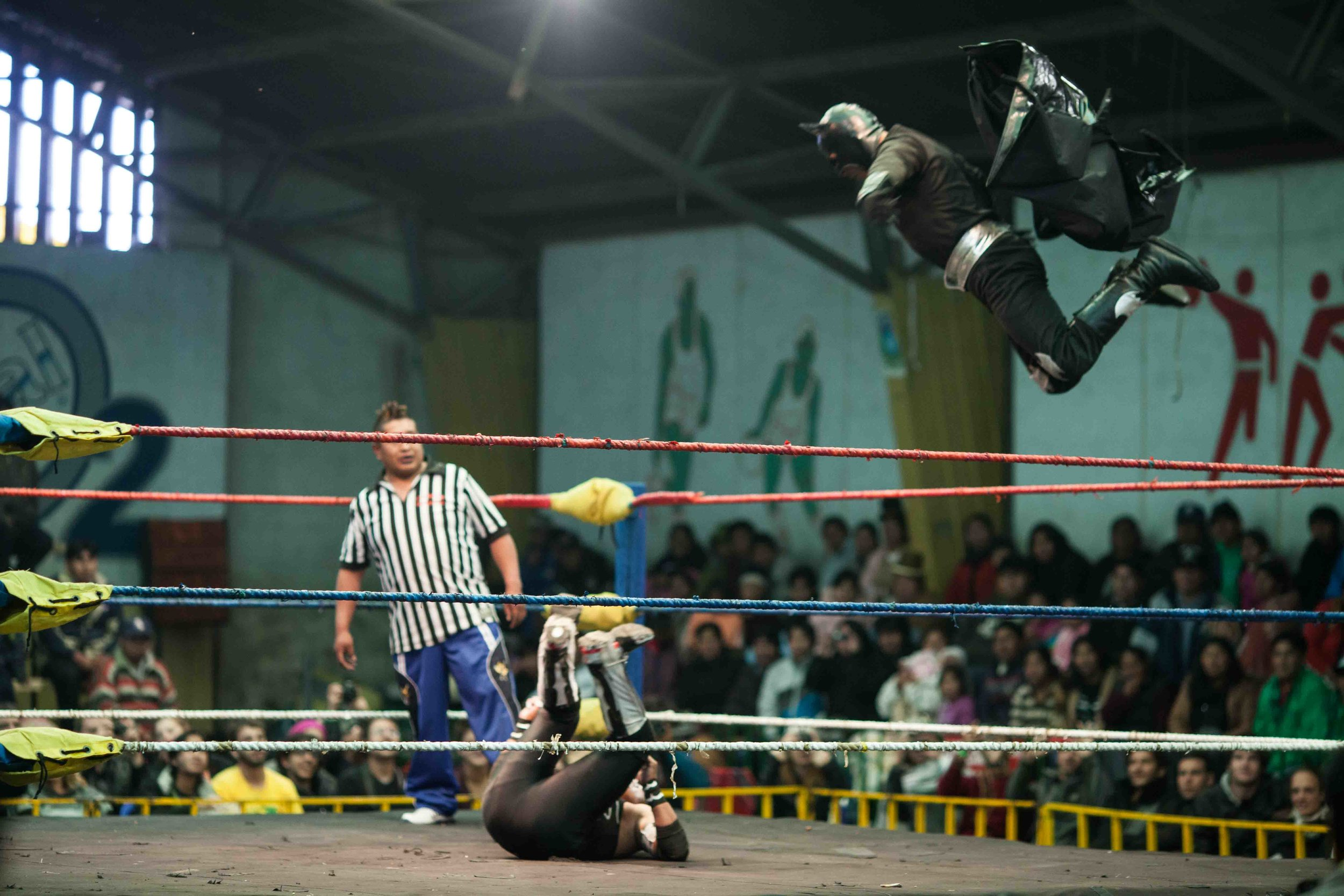 Matches are a mix of acrobatics and comedy routines.