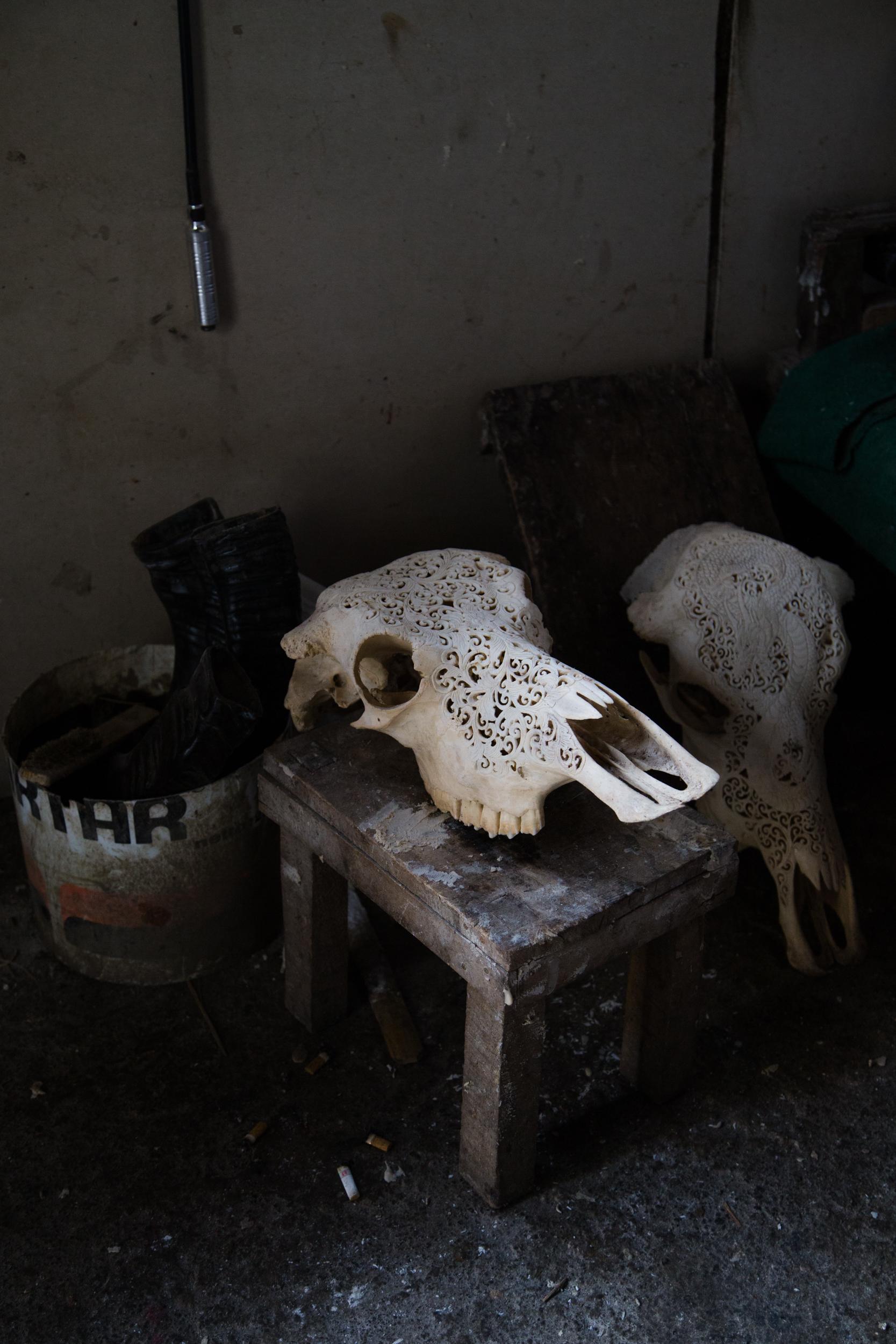 Intricately carved animal skulls at Wayan Tegal's workshop.