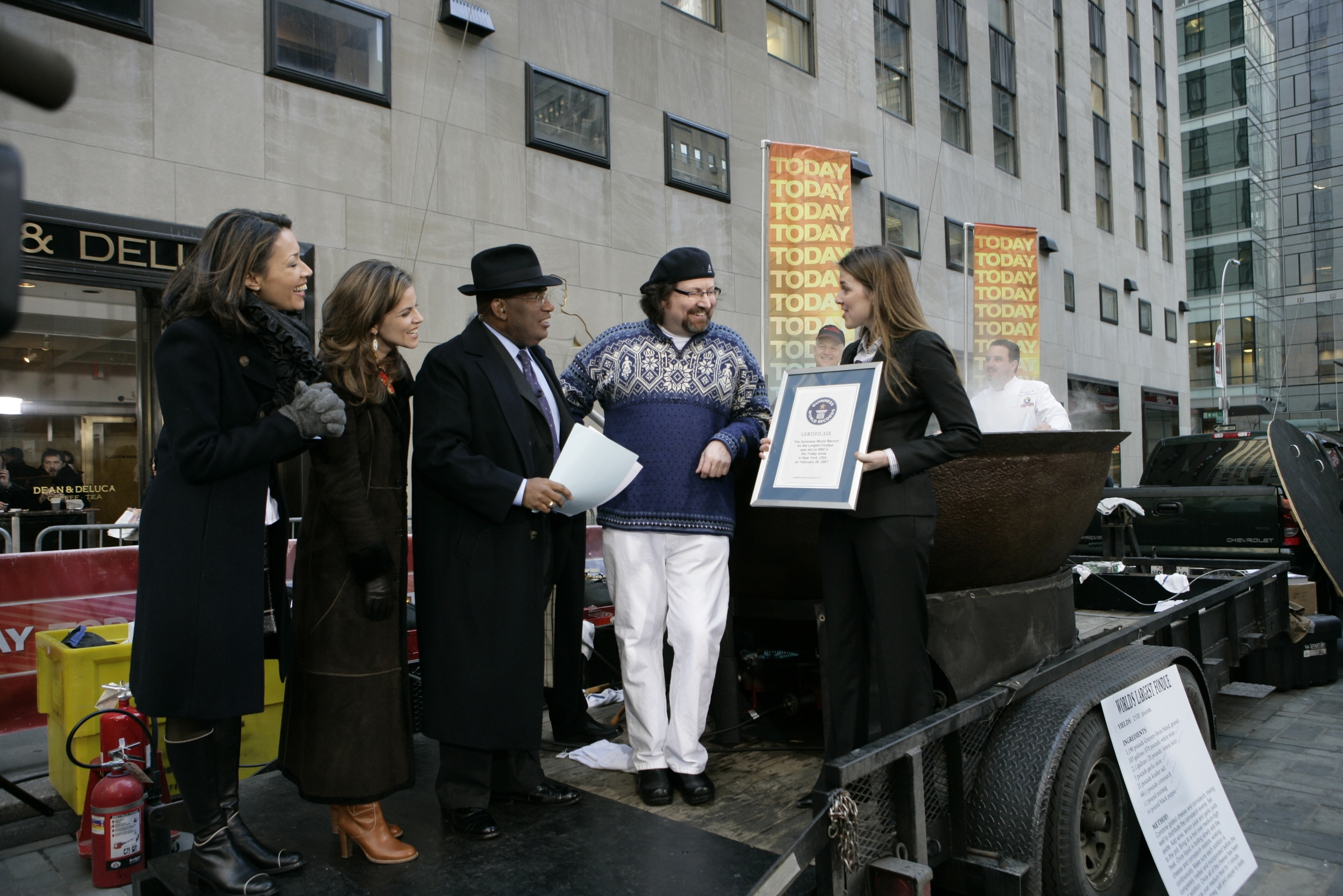 Terrance accepting the Guinness World Record for the Worlds Largest Fondue on the  Today Show.