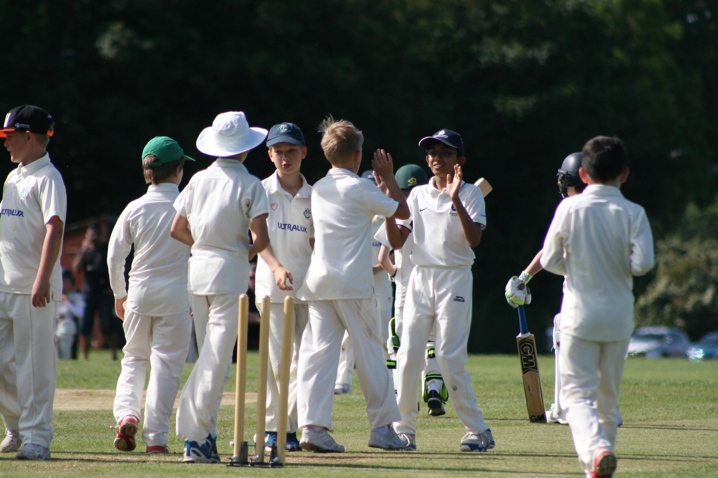 Under 11s celebrate a wicket