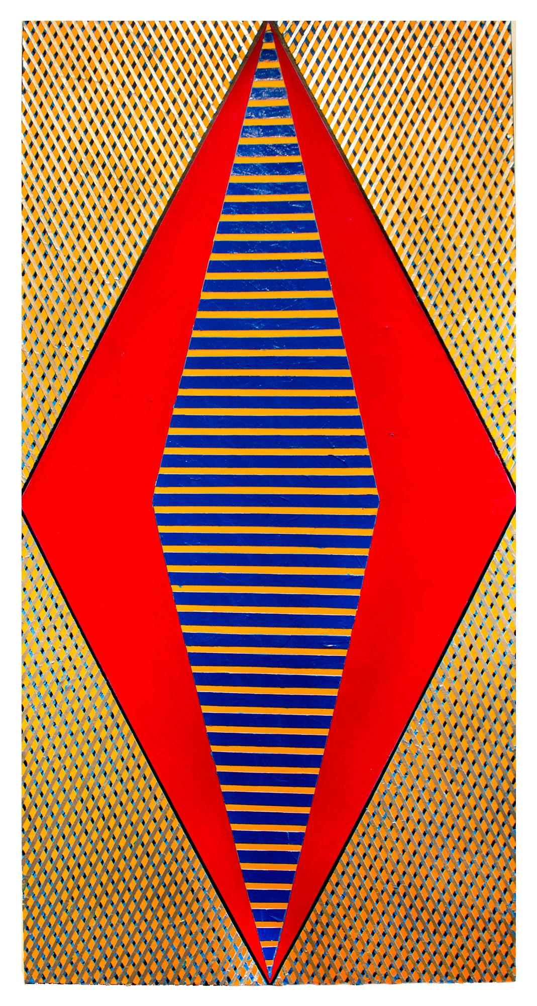 "2018 ""Large Diamond w. Red""   Acrylic on Canvas 72H x 36W"