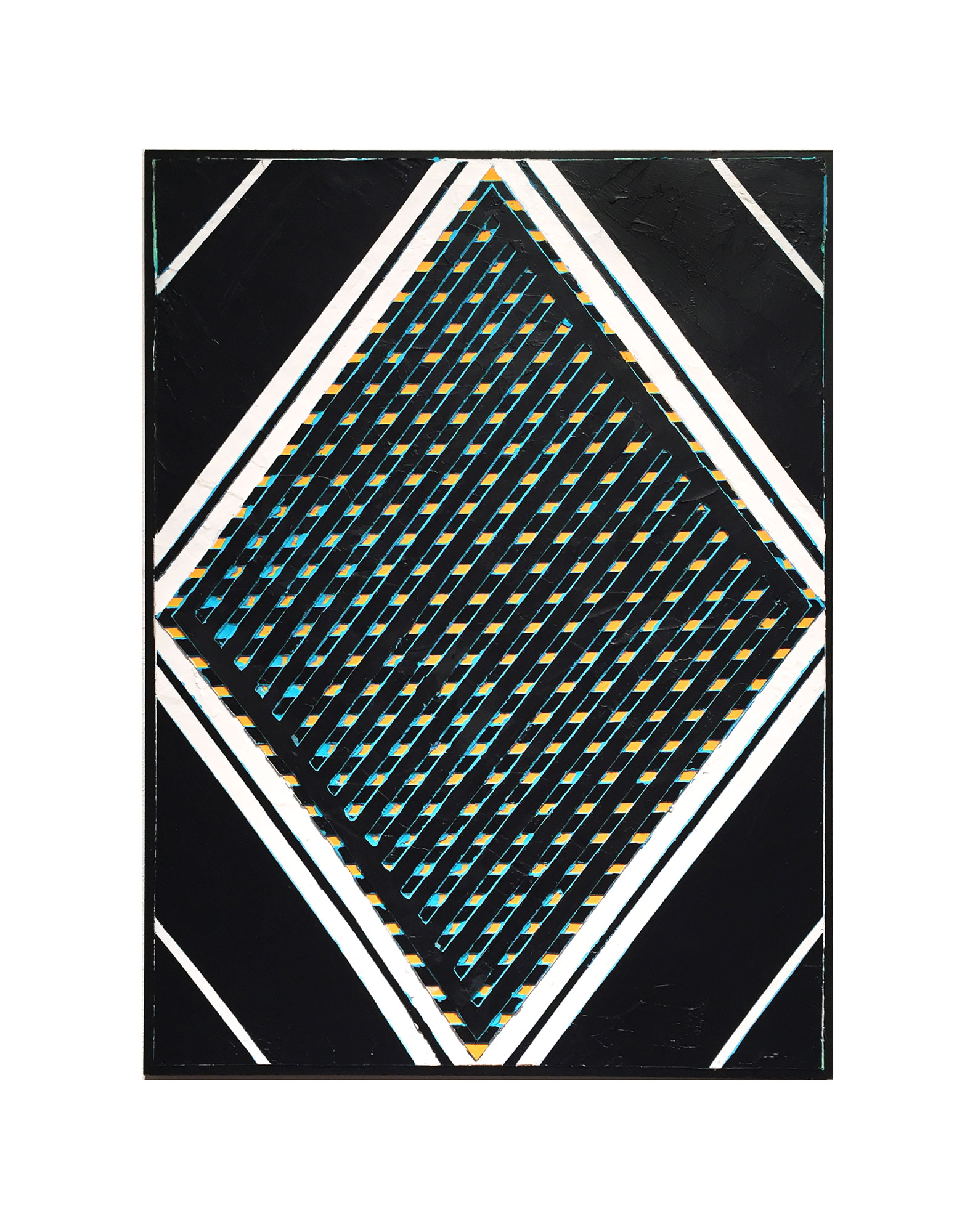 "2016   ""Diamond w. Black Grid""  Acrylic on Masonite   24H x 18W"