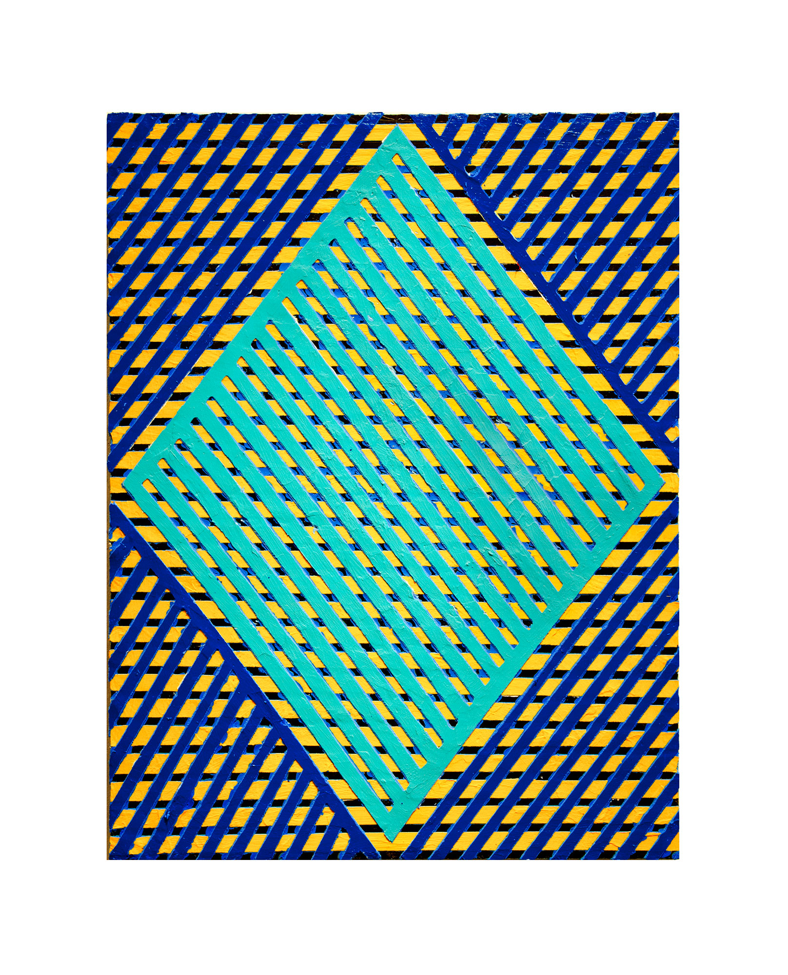 "2016   ""Diamond w. Turquoise Grid""  Acrylic on Masonite   24H x 18W"