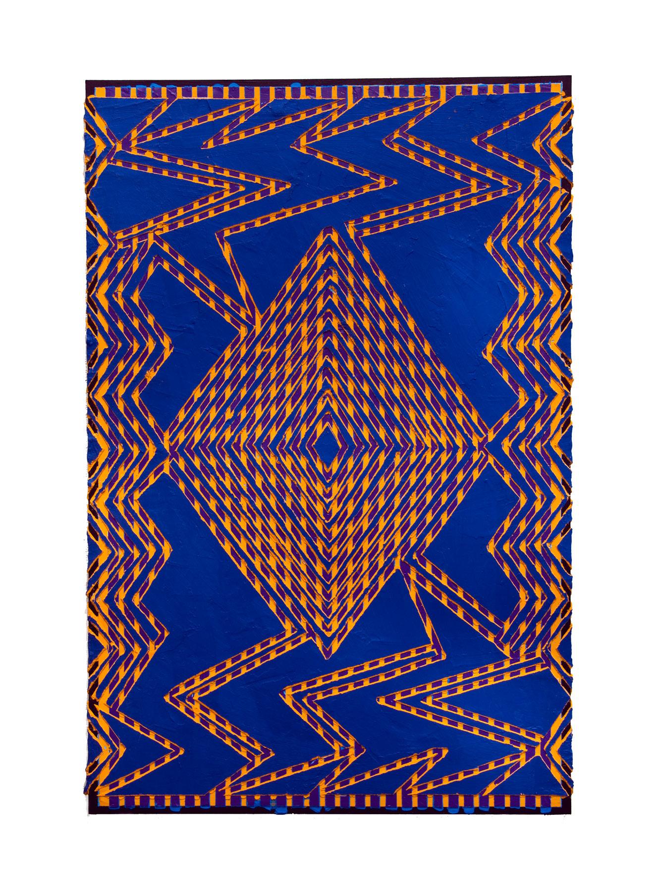 "2011 ""Electric Blues""  Acrylic on Masonite 36H x 24W"