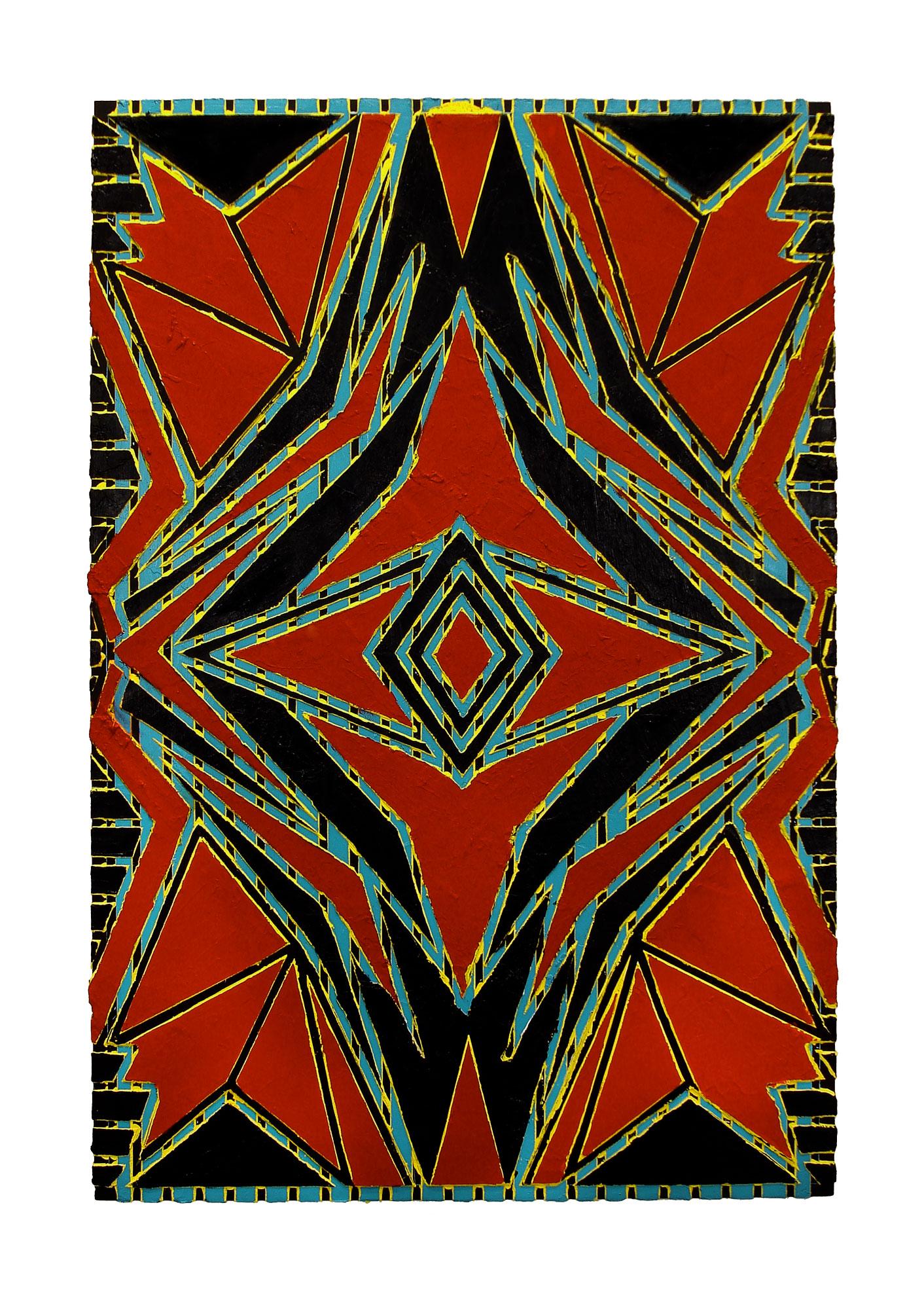 """2006 """"Red Eye""""  Acrylic on Masonite 36H x 24W"""