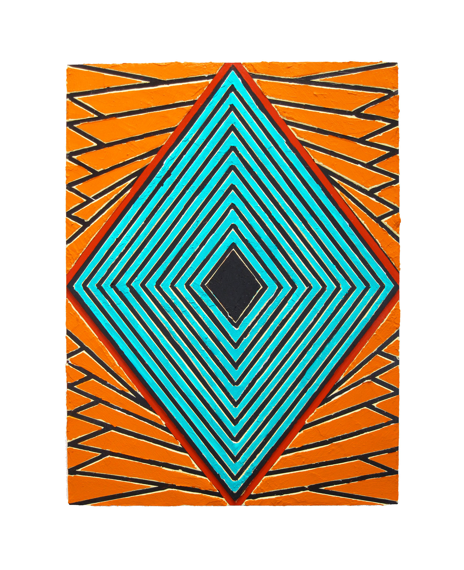 "2009 ""Raised Diamond 1""  Acrylic on Masonite 20H x 16W"