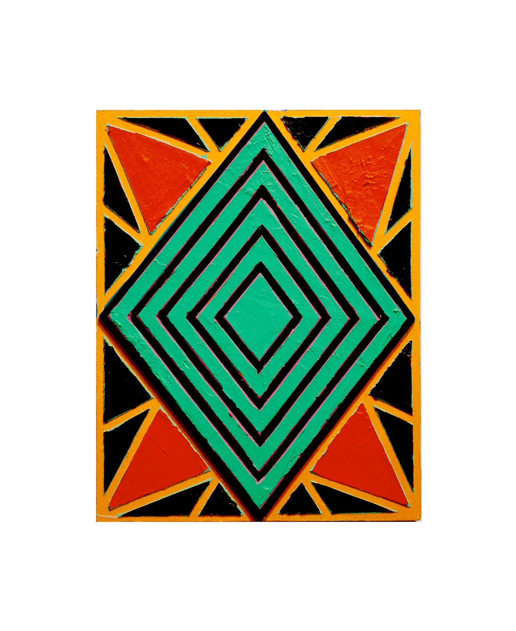 "2007 ""Small Diamond 3""  Acrylic on Masonite 14H x 11W"