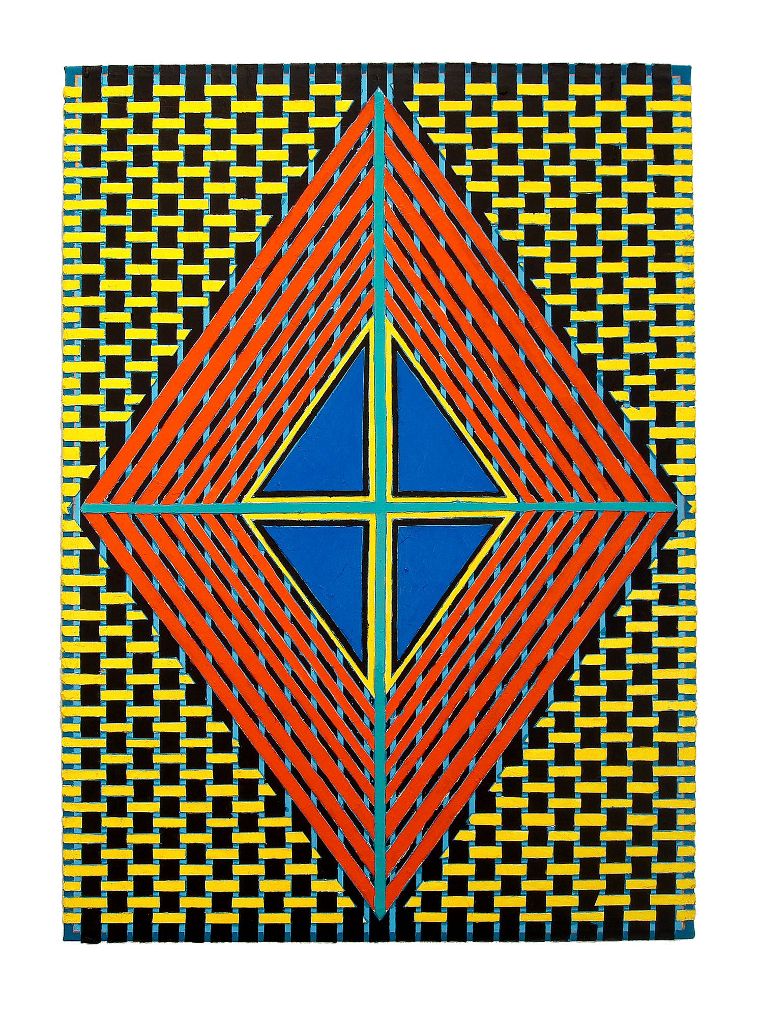 "2004   ""Red - Blue Diamond w. Turquoise Cross""  Acrylic on Canvas    42H x 30W"