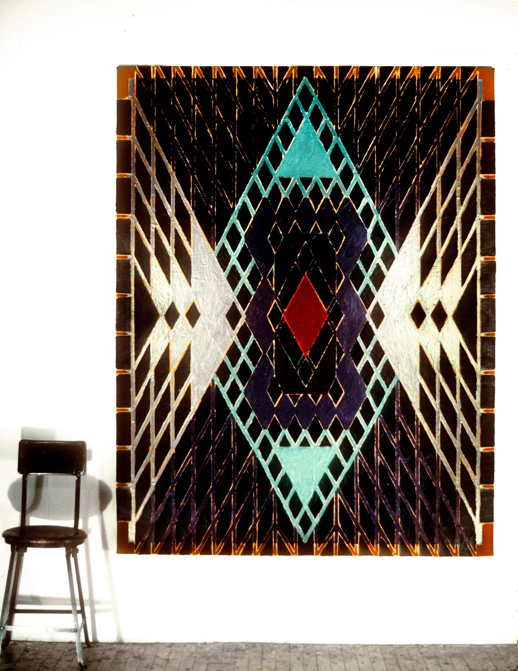 "1981 ""Soothsayer"" w. Chair  Acrylic on Canvas 84H x 66W"