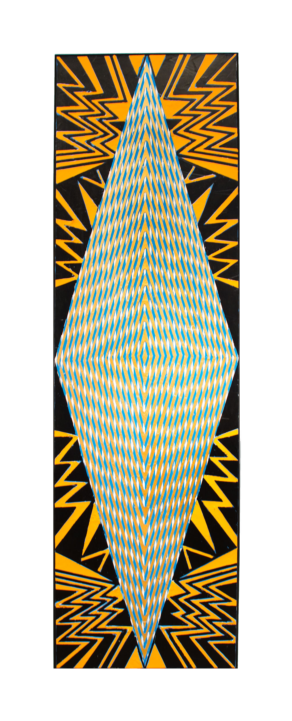 "2015 ""Tall Diamond w. Black & Orange (""New York"")""  Acrylic on Canvas 84H x 24W"