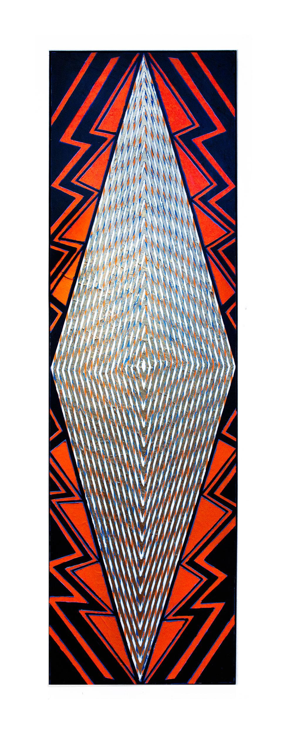 "2015 ""Tall Diamond w. Black & Red (""Brussels"")""  Acrylic on Canvas  84H x 24W"