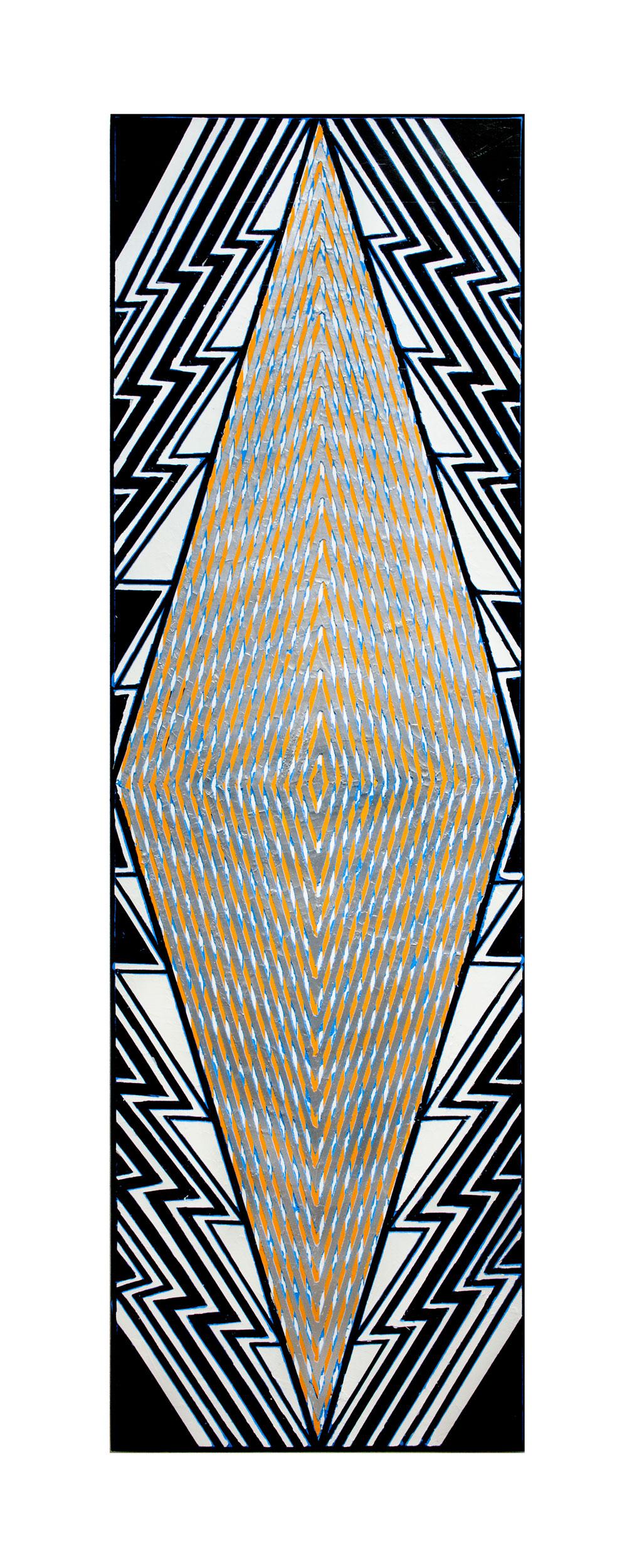 "2015  ""Tall Diamond w. Black & White (""London"")""  Acrylic on Canvas 84H x 24W"