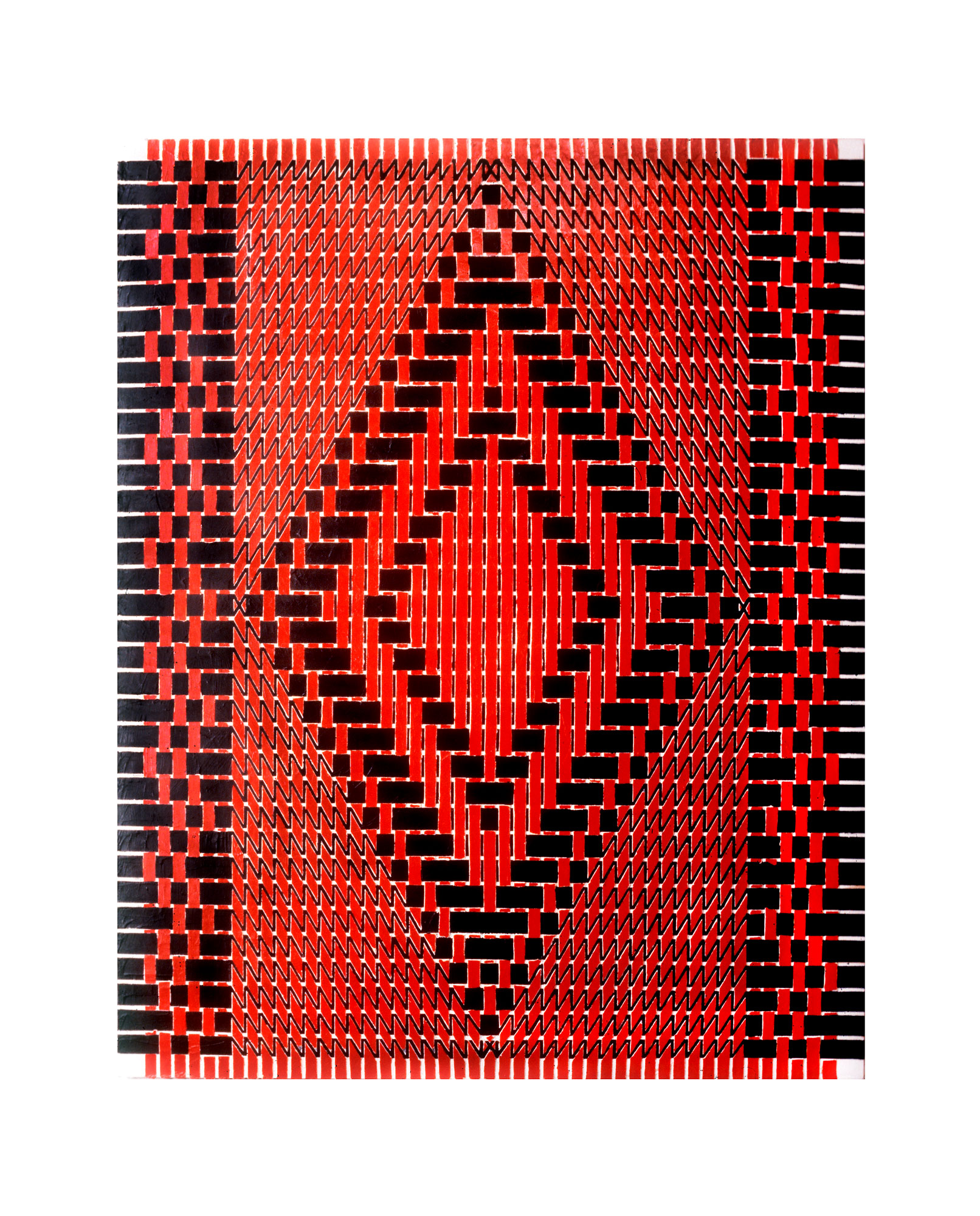 "1980    ""Diamond w. Red & Black""  Acrylic on Canvas    72H x 48W"