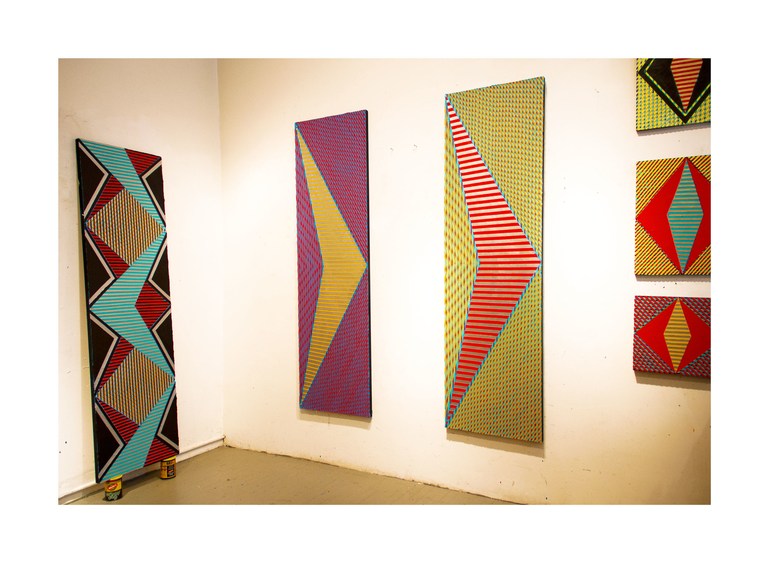 """2018 """"Two Chevrons""""  Acrylic on Canvas Each 84H x 24W"""