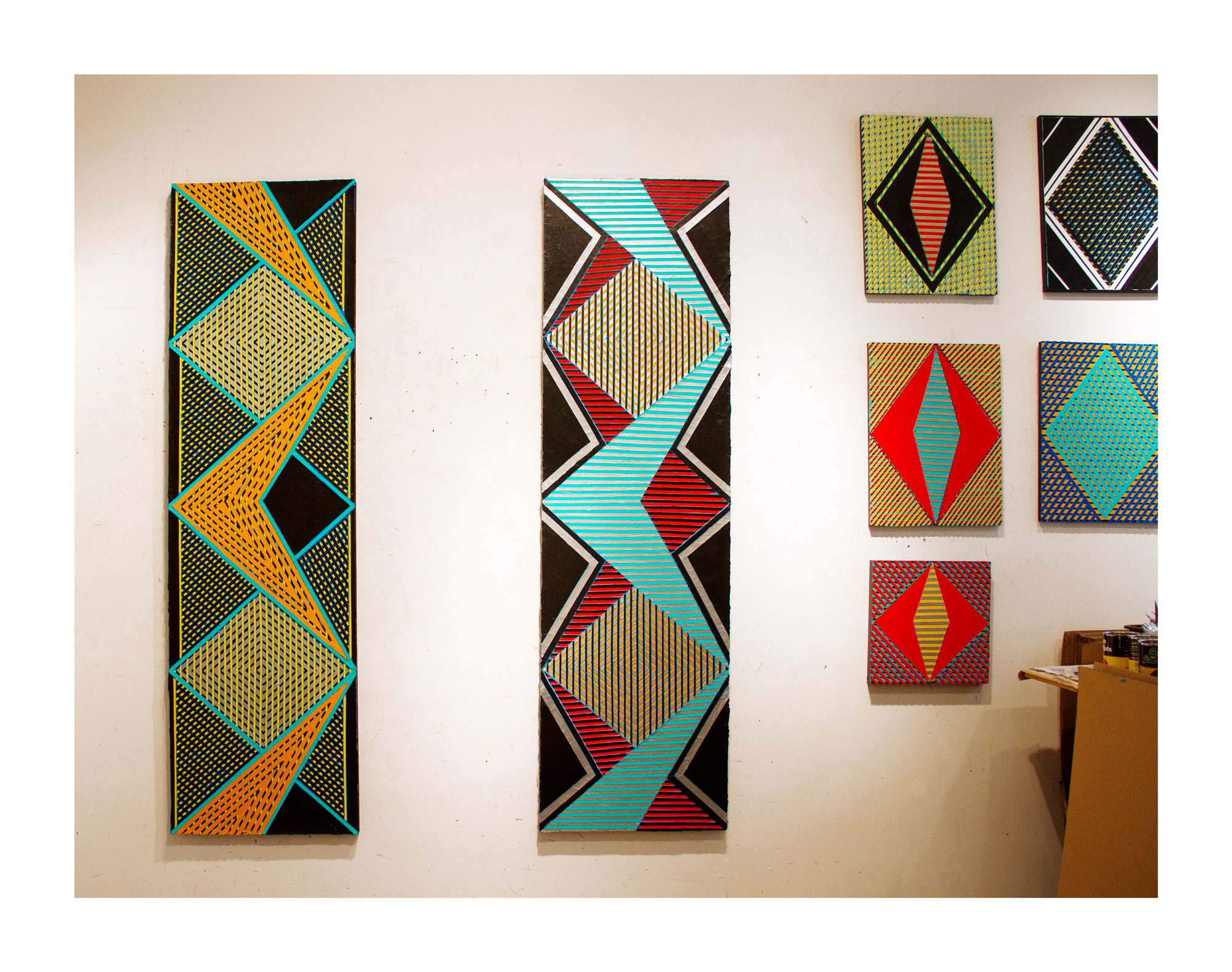 """2018 """"Two Zig-Zags in the Studio""""  Acrylic on Canvas Each 84H x 24W"""