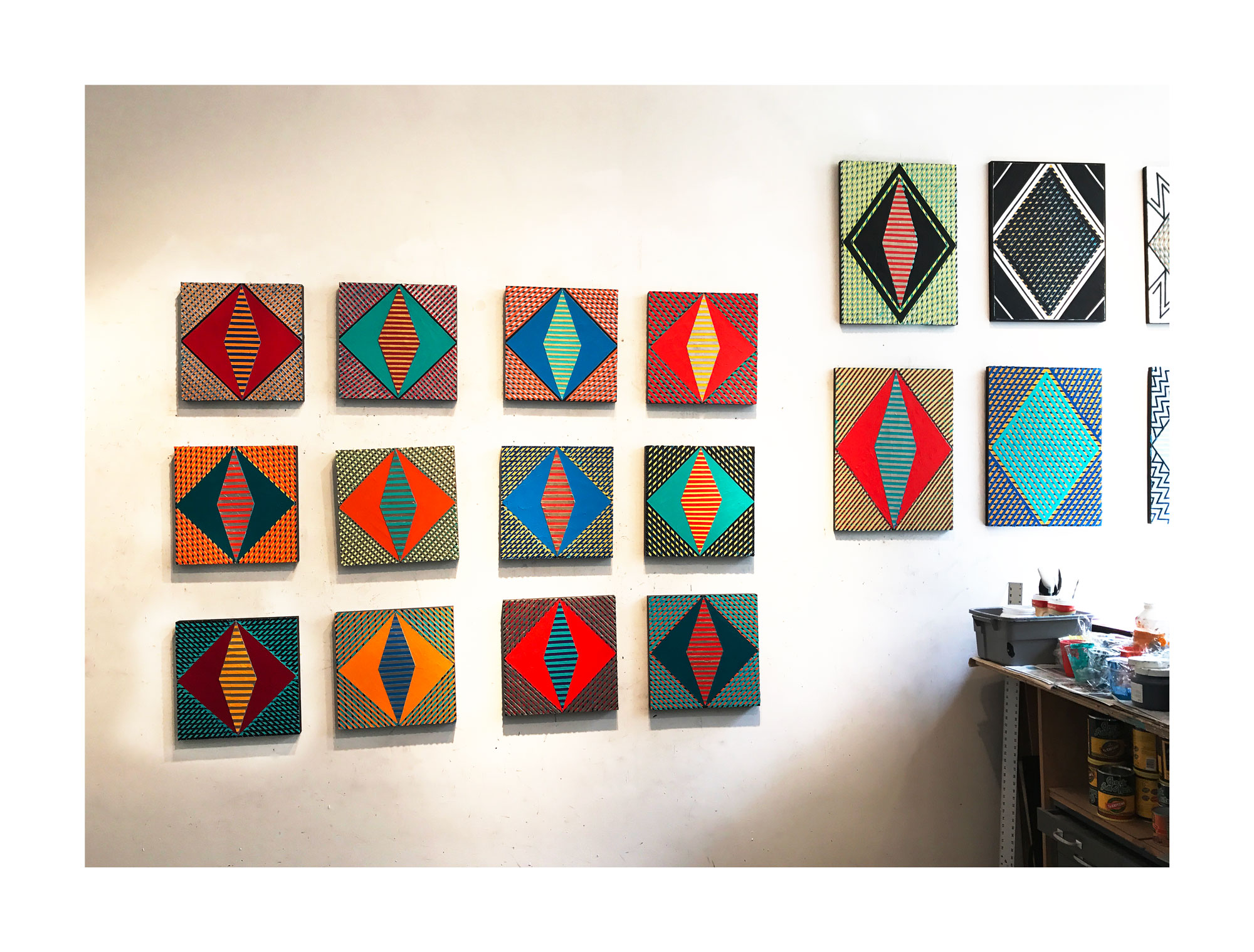 """2017 """"Resist"""" -Group of 12  Acrylic on Canvas Each 16H x 16W"""