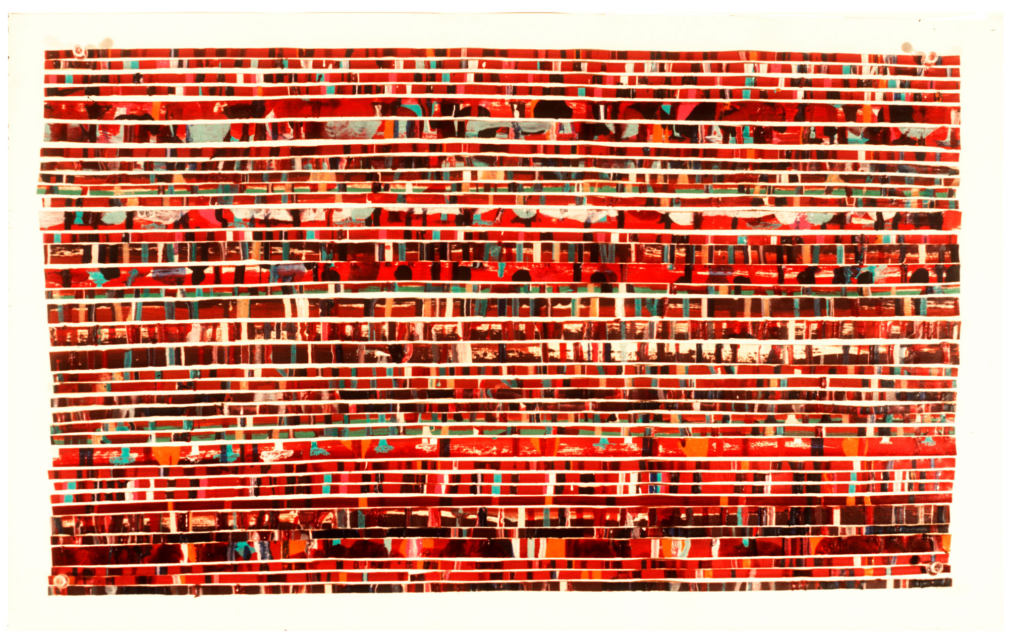 "1975   ""Painted Tape w. Thin Red Lines""  Acrylic on Masking Tape  on Paper"