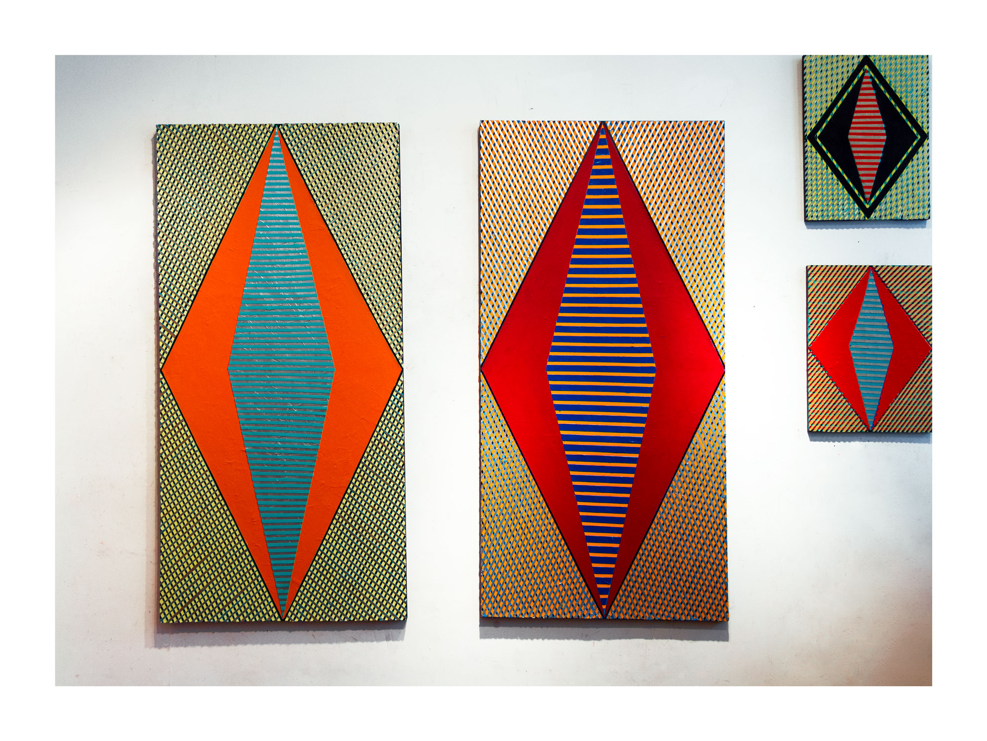 """2018  """"Two Large Diamonds""""  Acrylic on Canvas  Each 72H x 36W"""