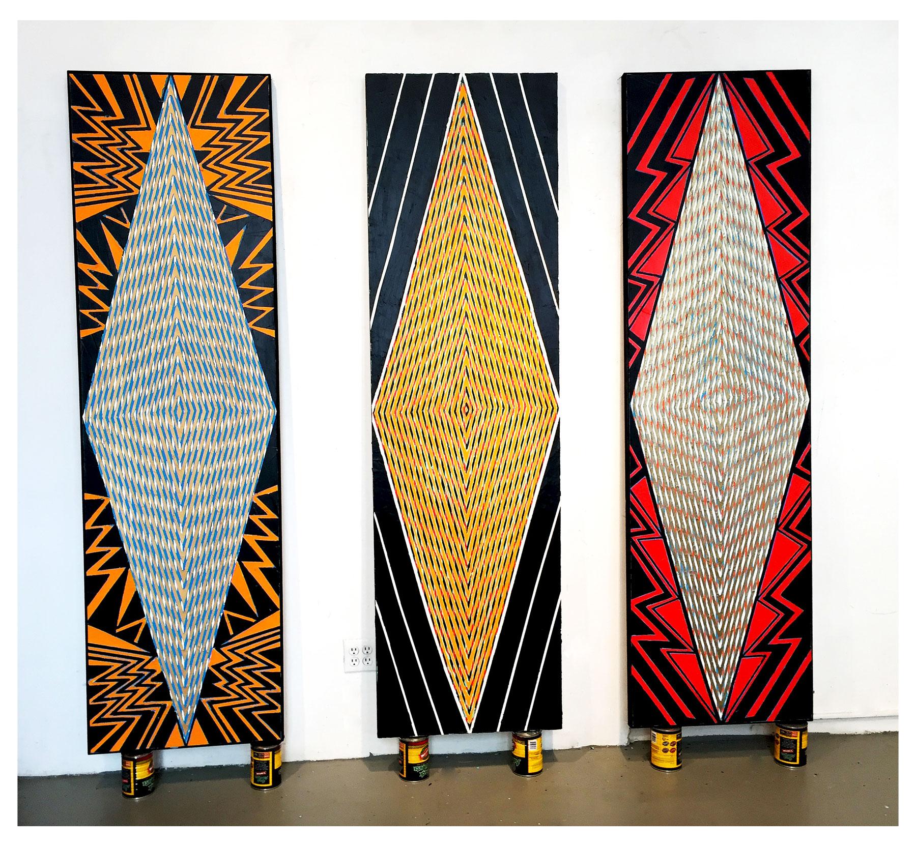 "2015  ""Tall Diamonds"" (New York/Paris/Brussels)  Acrylic on Canvas Each 84H x 24W"