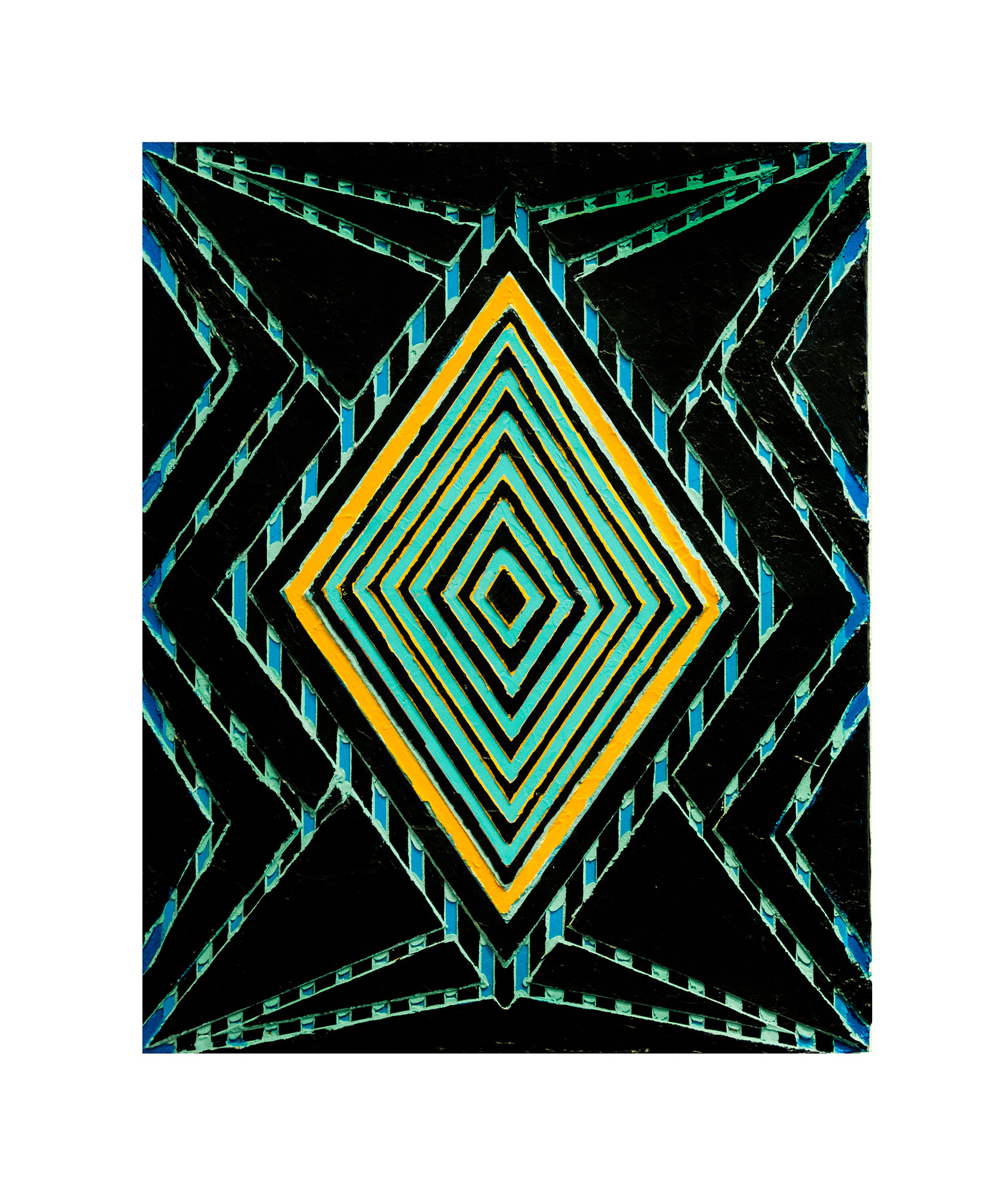 "2009 ""Raised Diamond 4""  Acrylic on Masonite 20H x 16W"