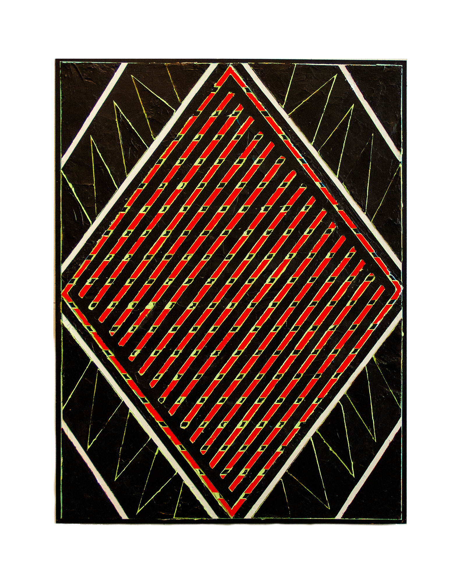 "2016  ""Red Diamond w. Black Feathers""    Acrylic on Masonite  24H x 18W"