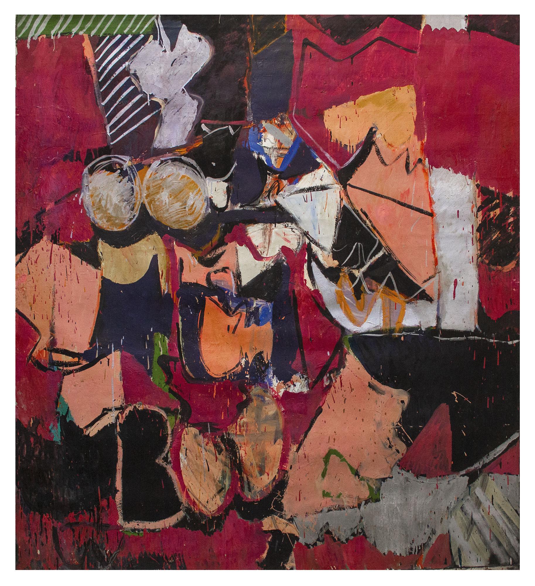"1966 ""Interior w. Black & Rose""  Oil on Canvas 72H x 64W"