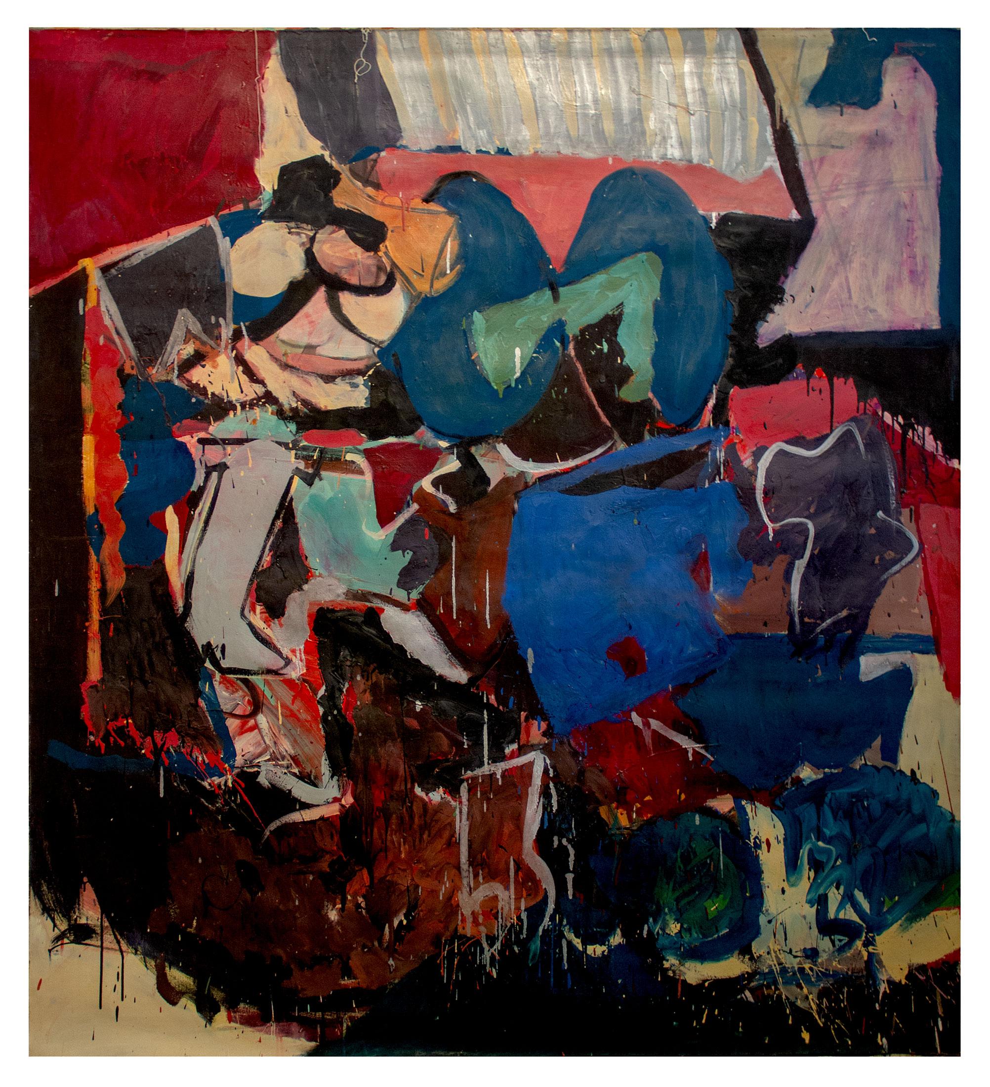 "1966 ""interior w. Blue & Green  Oil on Canvas  72H x 64W"