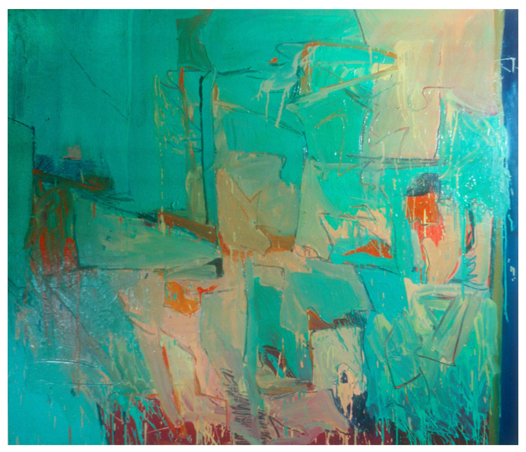 "1966 ""Landscape w. Green""  Oil on Canvas 64Hx 72W"