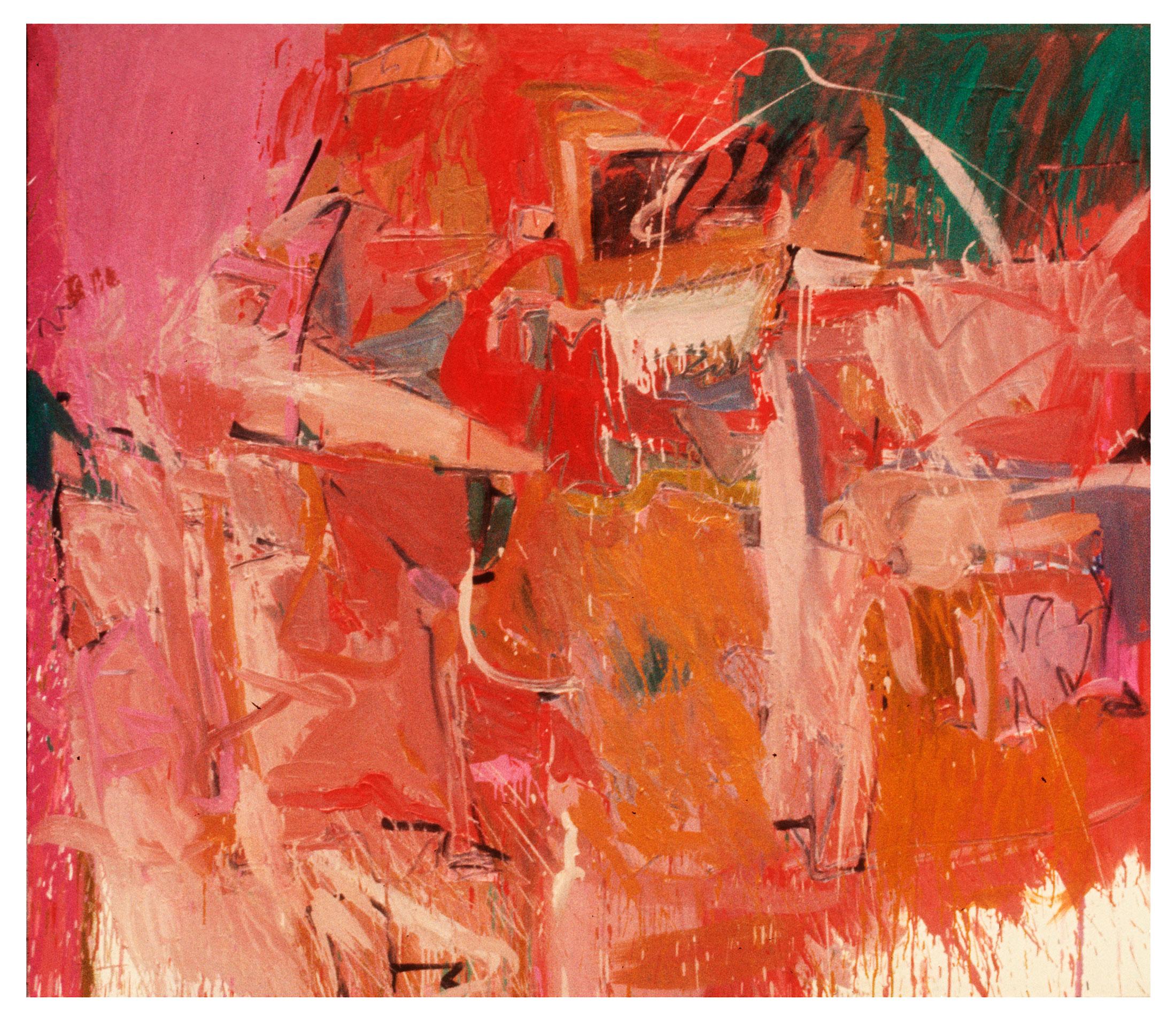 """1966   """"Landscape w. Pink""""  Oil on Canvas     64H x 72W"""