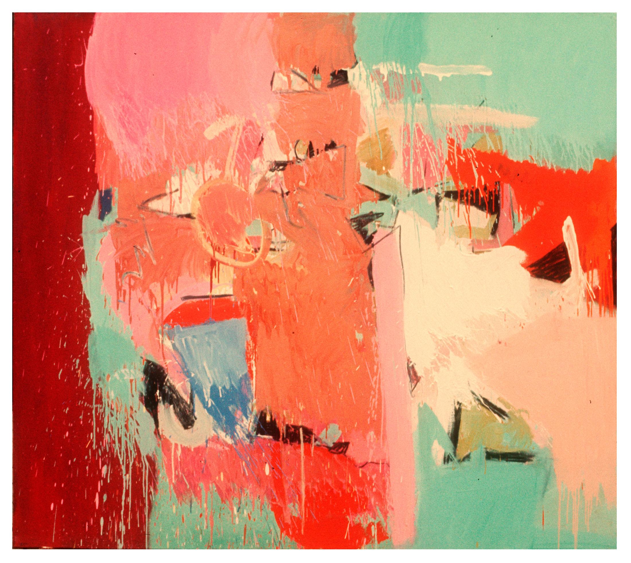 "1966 ""Landscape w. Lt Green & Orange""  Oil on Canvas 64H x 72W"