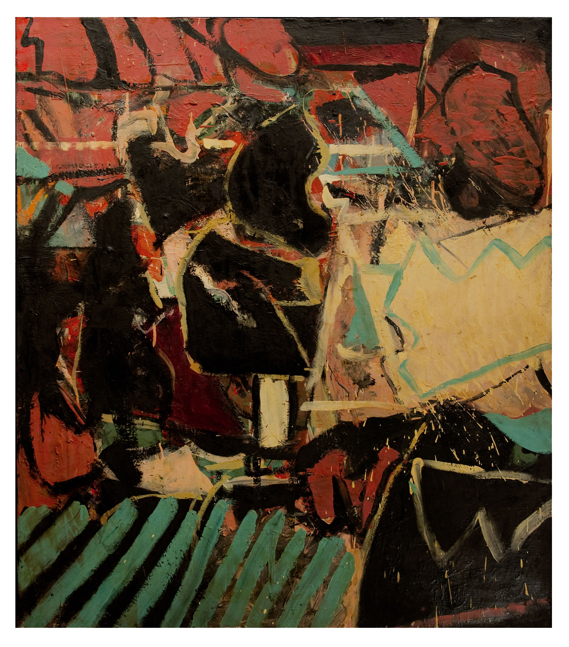 "1966 ""Interior w. Black & Yellow""  Oil on Canvas"