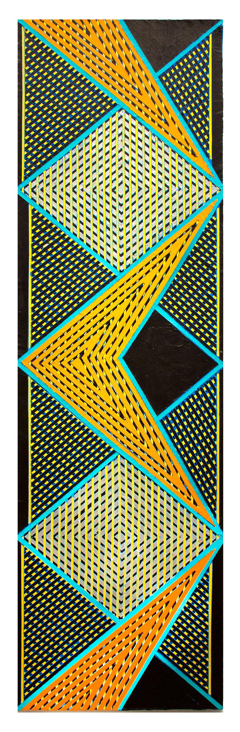 """2018 """"Zig-Zag w. Orange Chevron & Silver Diamonds""""  Acrylic on Canvas 84H x 24W"""