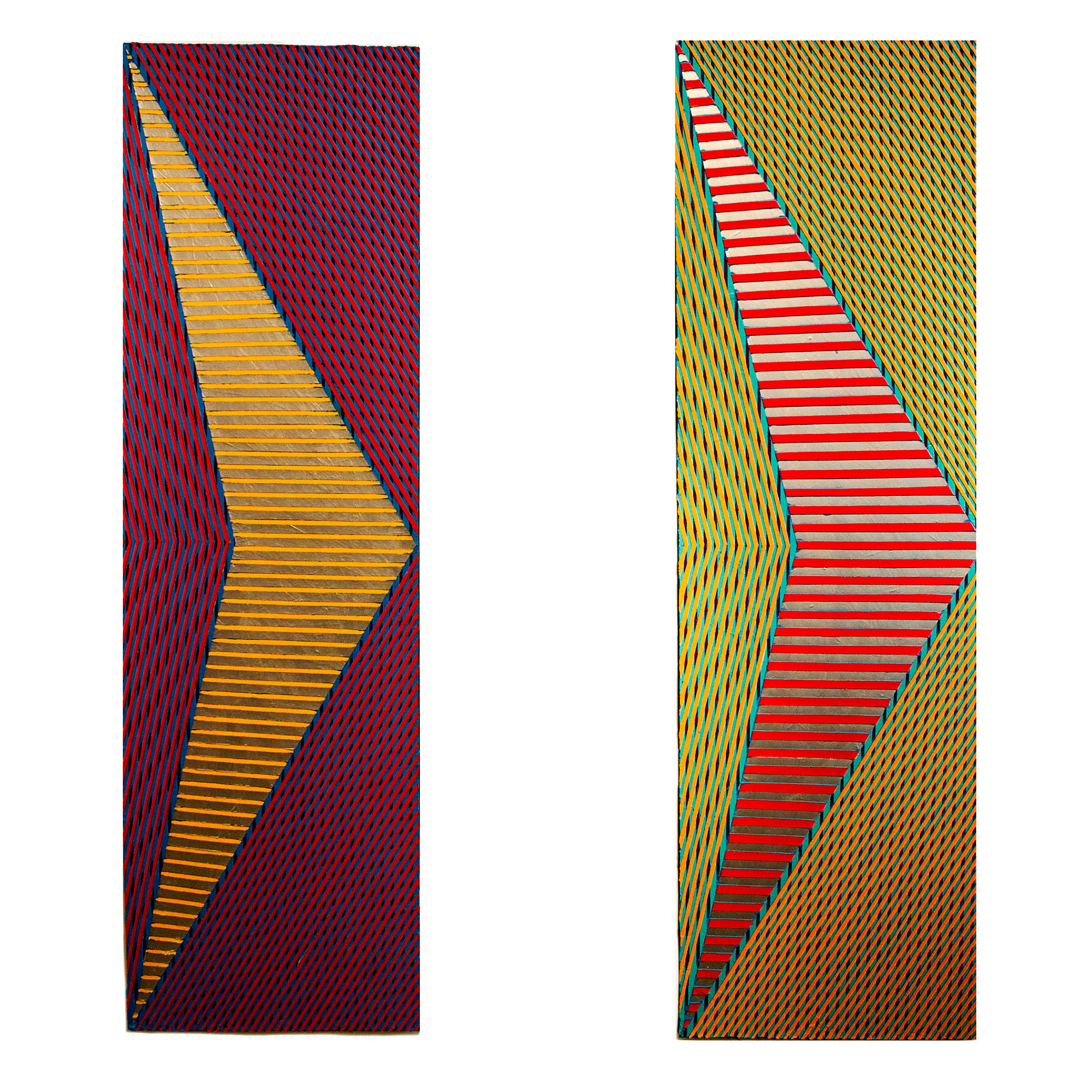 """2018 """"Two Chevrons - A""""  Acrylic on Canvas Each 84H x 24W"""