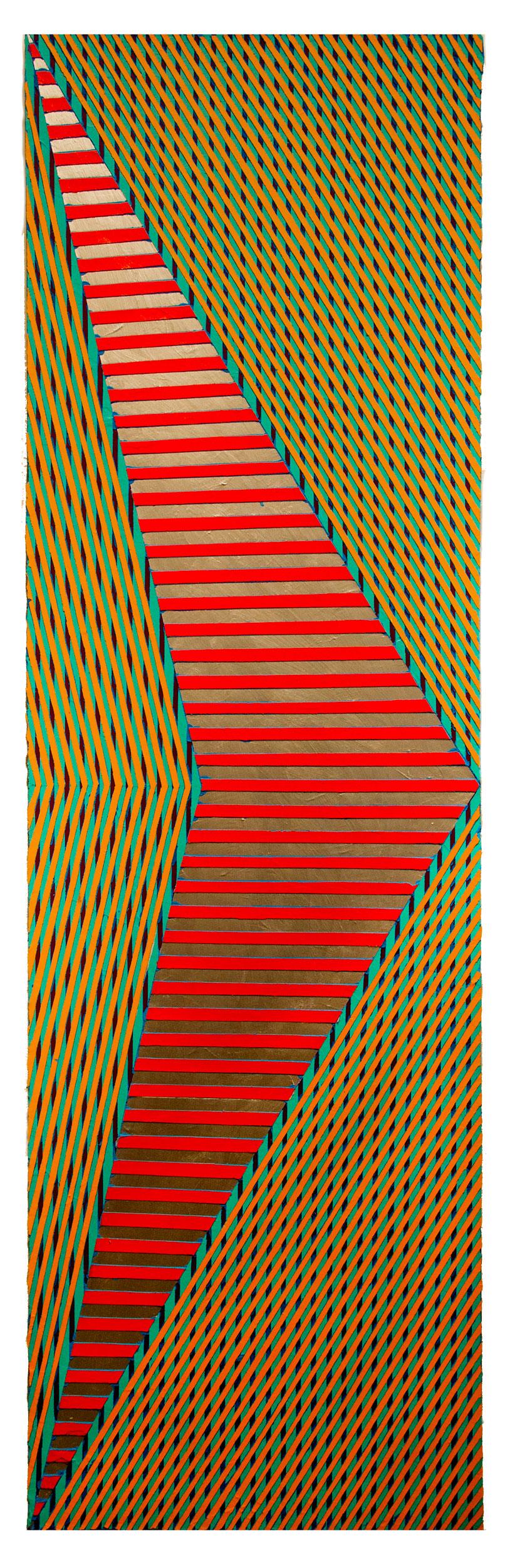 """2018 """"Chevon w. Silver & Red""""  Acrylic on Canvas 84H x 24W"""