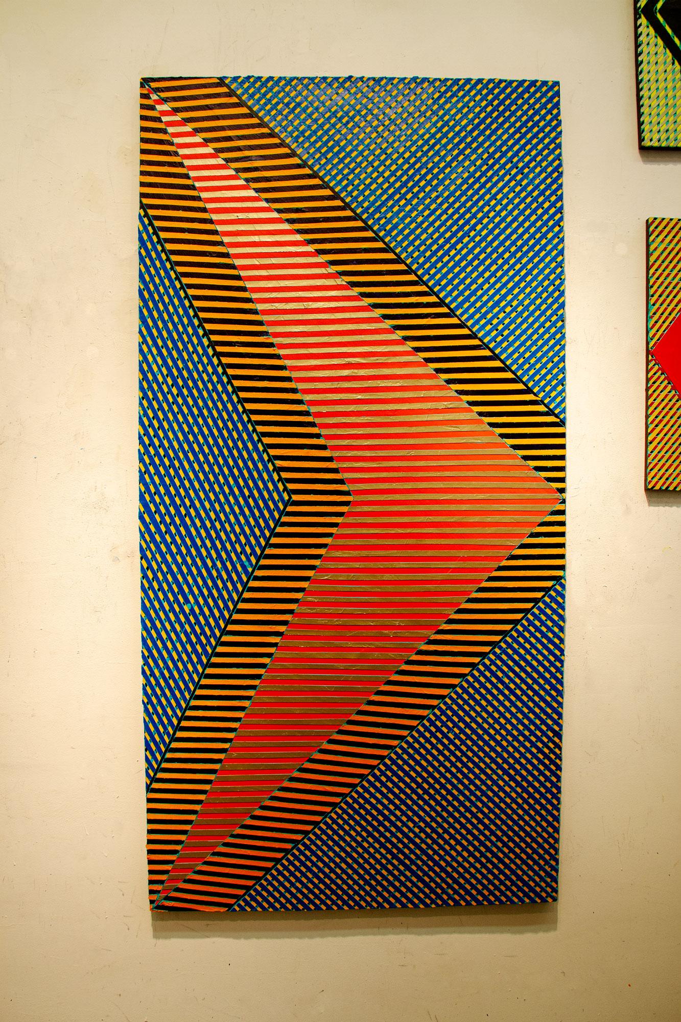 "2017 ""Double Chevon w. Silver & Black Lines"" in the Studio  Acrylic on Canvas 72H x 36W"