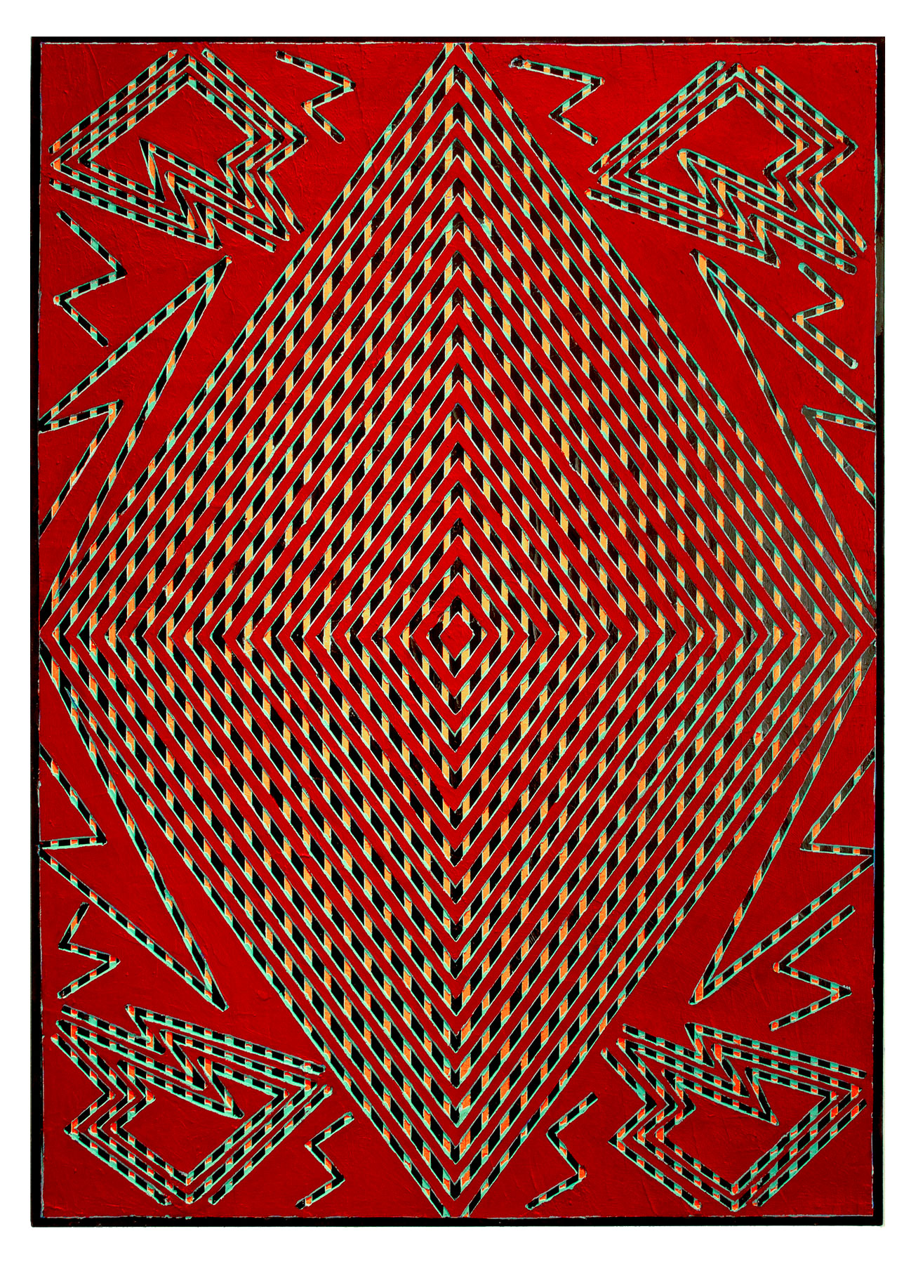 "2014 ""Diamond w. Red Bordeaux""  Acrylic on Canvas      40H x 34W"