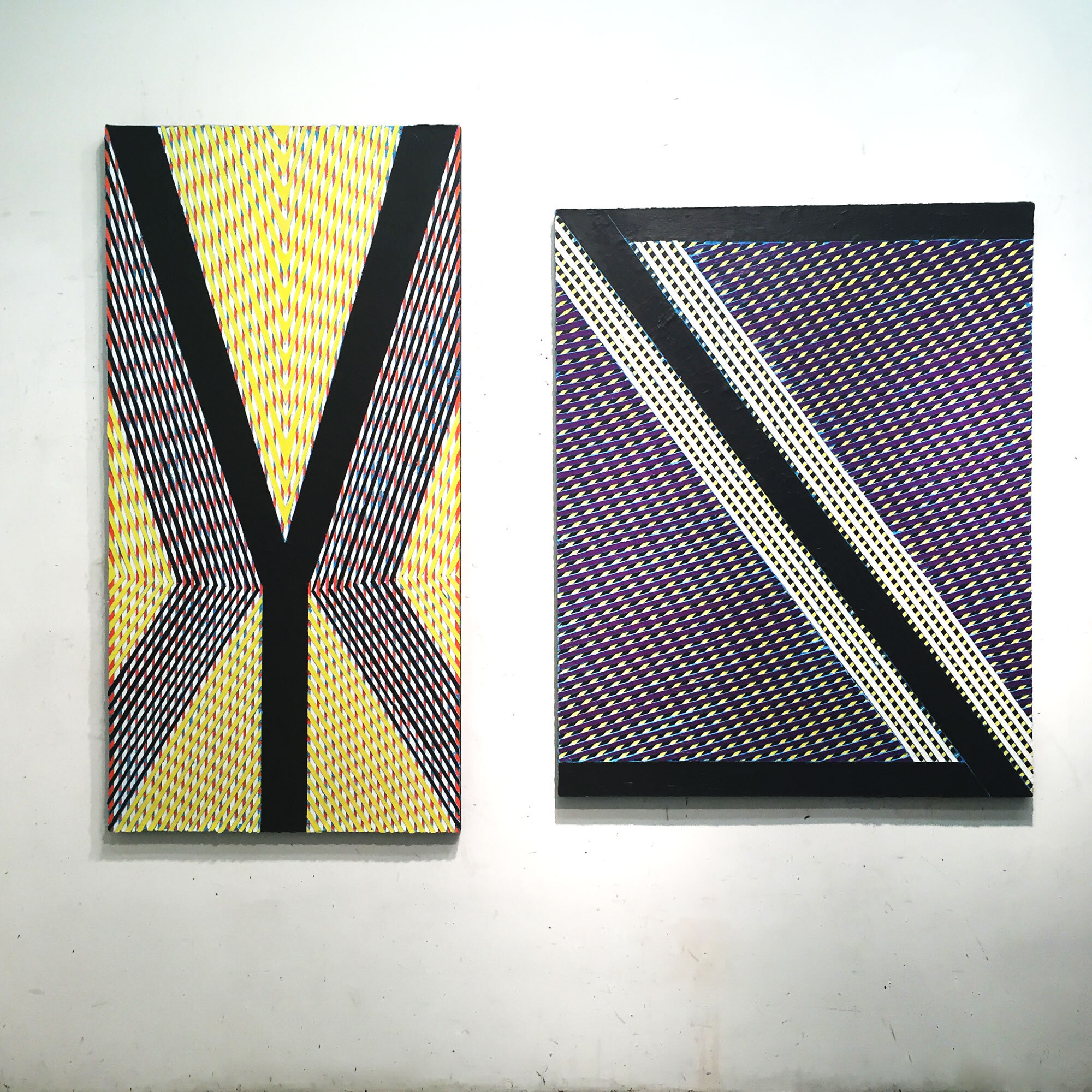 """2019  """"Loss"""" & """"Reversal of Fortune""""  Acrylic on Canvas - Installation"""