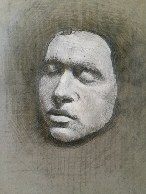 black and white charcoal on toned paper