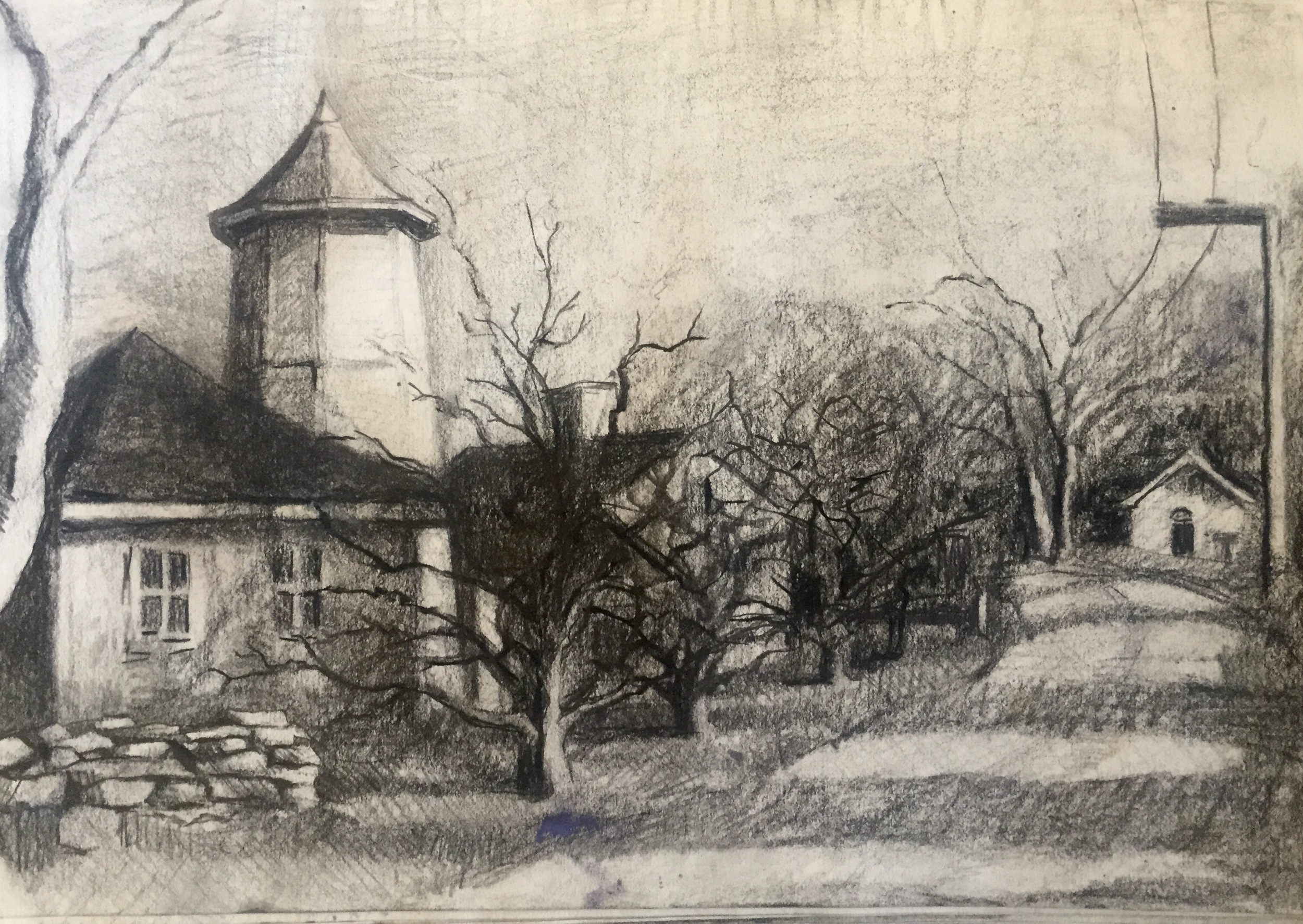 charcoal study for painting
