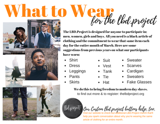 FREE PRINTABLE FLYER. Right Click & save to your computer. Share on Social, print and hand out to anyone thinking about participating in the LBD.Project.