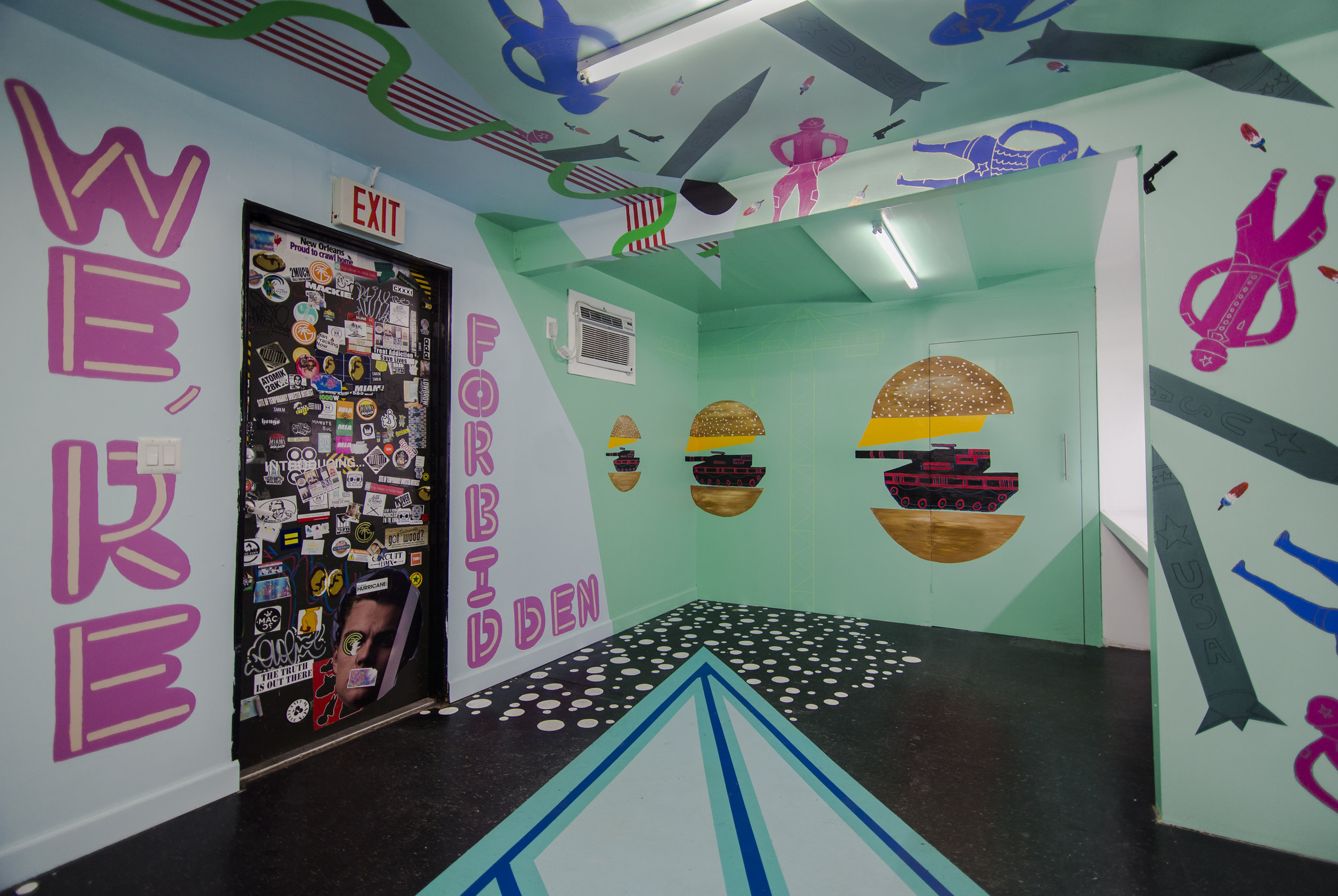 Interior latex, acrylic paint, and markers Flowerbox Projects, Miami, FL June 21, 2016, to August 15, 2016