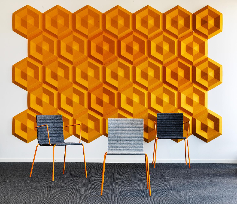 Wandabsorber Johanson Design «Beehive», Stoffbezug Europost orange