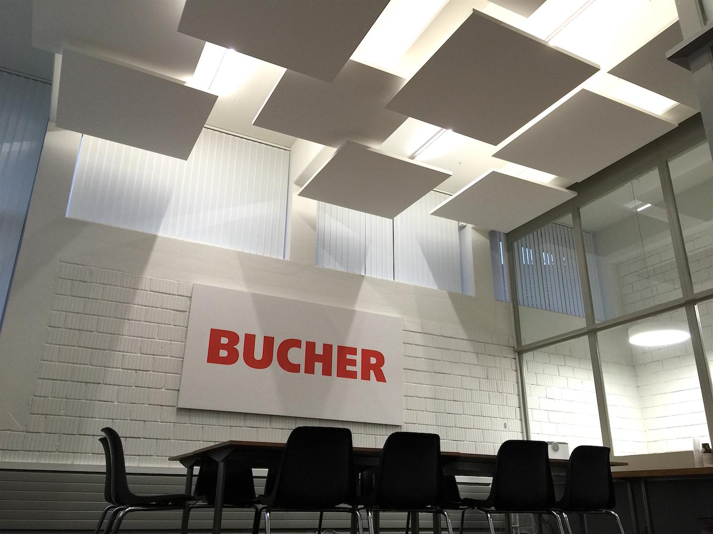 Kopie von Akustikbild mit Firmenlogo bei Bucher Industries