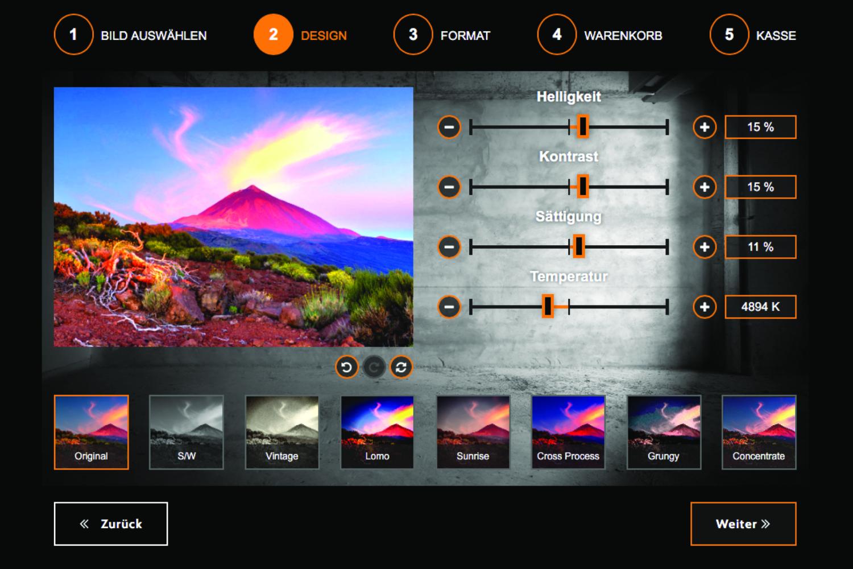 Mit den Bildbearbeitungsfilter im Akustikbildshop geben Sie Ihrem Bild den ganz eigenen Touch