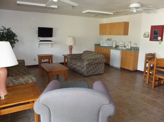 The lounge is a perfect place to hang out. Features TV, a microwave, refrigerator, sink and coffee maker.