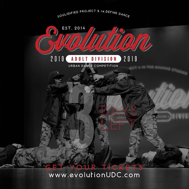 3 Days Left! What's your favorite past performance from Evolution? Comment below.⠀ ⠀ Have you bought your tickets? To purchase pre-sale tickets online, visit the link on our bio.⠀ https://soulidifiedproject.ticketspice.com/evolutionudc2019⠀ -⠀ Photography By: @movemedia_pics⠀ ---⠀ #create. #dance. #evolve⠀ -⠀ #evolutionUDC2019 #urbandancecompetition #choreography #dancecompetition #hiphopdance #bayareadancecommunity